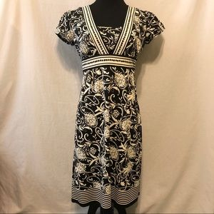 LIKE NEW LOFT Floral Cap Sleeve Midi Dress